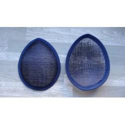 Base forme goutte bombée en sisal bleu marine pour chapeau ou bibi