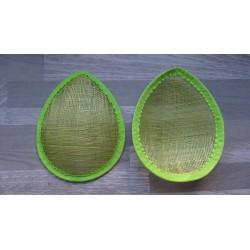 Base forme goutte bombée en sisal vert anis pour chapeau ou bibi