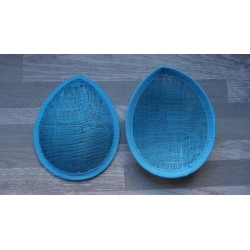 Base forme goutte bombée en sisal turquoise pour chapeau ou bibi