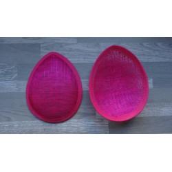 Base forme goutte bombée en sisal fuchsia pour chapeau ou bibi