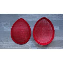 Base forme goutte bombée en sisal rouge pour chapeau ou bibi