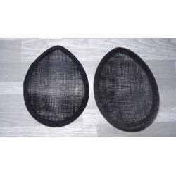 Base forme goutte bombée en sisal noir pour chapeau ou bibi