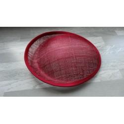 Base ovale bombée en sisal bordeaux pour chapeau/bibi de 25cm de diamètre