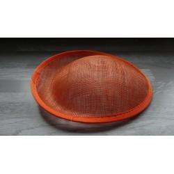 Base ovale bombée en sisal orange pour chapeau/bibi de 25cm de diamètre