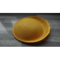 Base ovale bombée en sisal jaune pour chapeau/bibi de 25 cm de diamètre