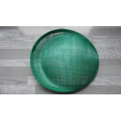 Base ovale bombée en sisal vert emeraude pour chapeau/bibi de 25cm de diamètre