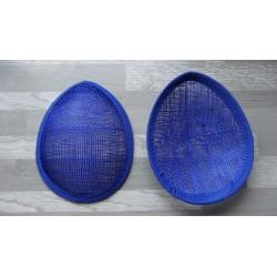Base forme goutte bombée en sisal bleu roi pour chapeau ou bibi