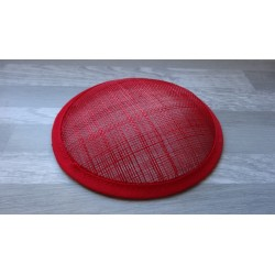 Base ronde bombée en sisal rouge pour chapeau ou bibi