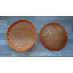 Base ronde bombée en sisal orange pour chapeau ou bibi