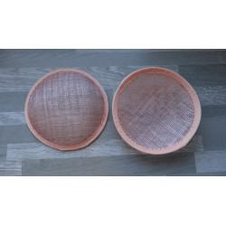 Base ronde bombée en sisal rose saumon pour chapeau ou bibi