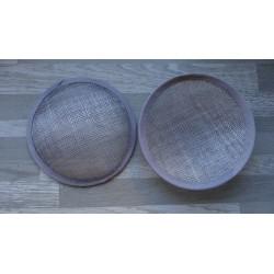 Base ronde bombée en sisal gris pour chapeau ou bibi