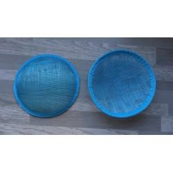 Base ronde bombée en sisal turquoise pour chapeau ou bibi