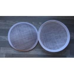 Base ronde bombée en sisal blanc pour chapeau ou bibi