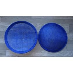 Base ronde bombée en sisal bleu roi pour chapeau ou bibi