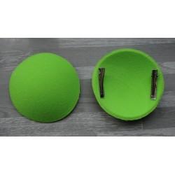 Support à pince rond bombé cartonné en feutrine vert anis