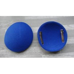 Support à pince rond bombé cartonné en feutrine bleu roi