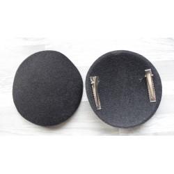 Support rond bombé cartonné en feutrine noir (pince non fournie)