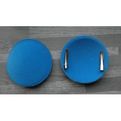 Support à pince rond bombé cartonné en feutrine bleu turquoise
