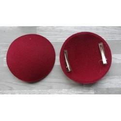 Support rond bombé cartonné en feutrine bordeaux (pince non fournie)