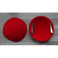 Support rond bombé cartonné en feutrine rouge (pince non fournie)