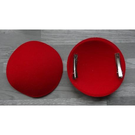Support à pince rond bombé cartonné en feutrine rouge