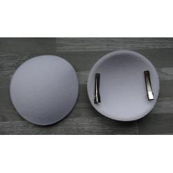 Support à pince rond bombé cartonné en feutrine blanche (pinces non fournies)