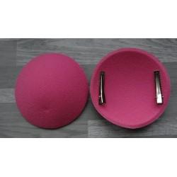 Support à pince rond bombé cartonné en feutrine rose