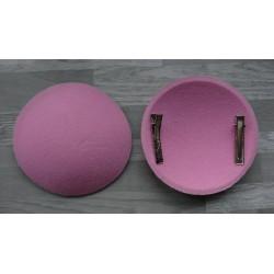 Support à pince rond bombé cartonné en feutrine rose clair
