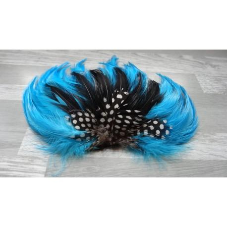 Pad de plumes de coq turquoise et noir et de pintade