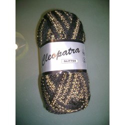 Pelote de laine cleopatra GLITTER 003 noir et doré