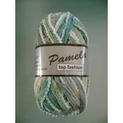 Pelote de laine PAMELA 603 turquoise/blanc/gris