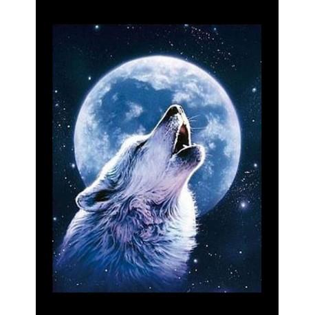 kit de tableau de strassage 3d loup au clair de lune. Black Bedroom Furniture Sets. Home Design Ideas