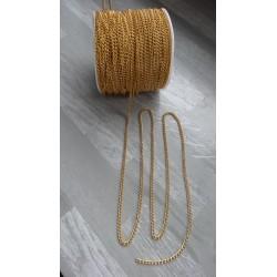 Lot de 5m de Chaine de couleur doré en aluminium inoxydable