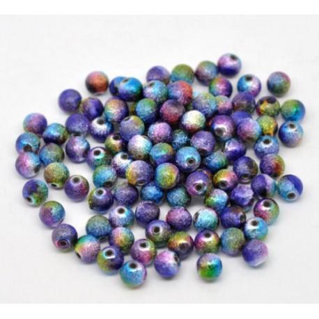 lot de 100 Perles rondes multicolore effet granuleux métallisé