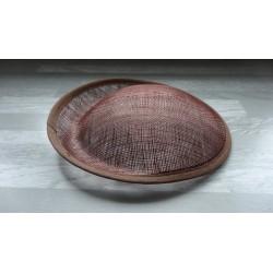 Base ovale bombée en sisal marron chocolat pour chapeau/bibi