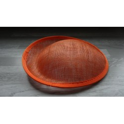Base ovale bombée en sisal orange pour chapeau/bibi