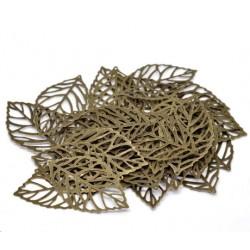 Lot de 20 Pendentifs Feuille ciselée en métal couleur bronze