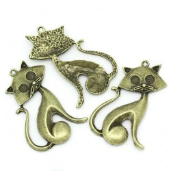 lot de 4 Pendentifs chat cartoon en métal effet bronze