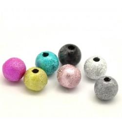 lot de 100 Perles rondes multicolore effet granuleux métalisé