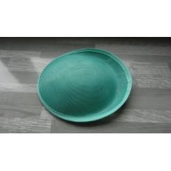 Base ovale bombée en sisal vert d'eau pour chapeau/bibi