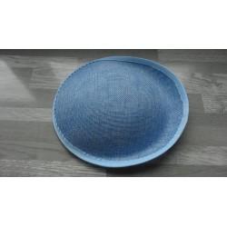 Base ovale bombée en sisal bleu ciel pour chapeau/bibi