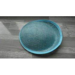 Base ovale bombée en sisal bleu turquoise clair pour chapeau/bibi