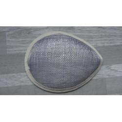 Base forme goutte bombée en sisal gris pour chapeau ou bibi