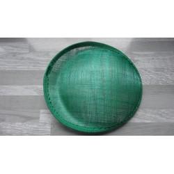 Base ovale bombée en sisal vert emeraude pour chapeau/bibi
