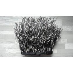 50cm Ruban de barbules d'autruche blanc, noir et orange