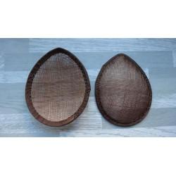 Base forme goutte bombée en sisal marron chocolat pour chapeau ou bibi